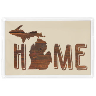Michigan ist hölzerner Planken-Blick | Michigan Acryl Tablett