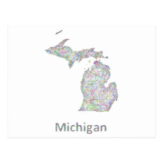 Michigan-Karte Postkarte
