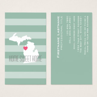 Michigan-Karten-Zuhause-Staats-Liebe mit Visitenkarte