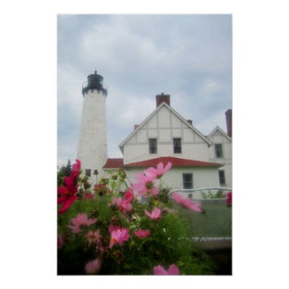 Michigan-Leuchtturm-u. Blumen-Plakat-Kunst Poster