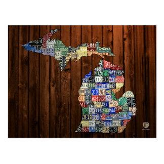 Michigan-Lizenz-Platten-Karte von Landkreisen auf Postkarte