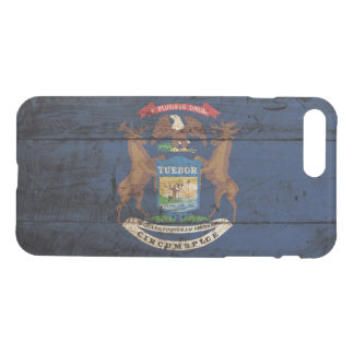 Michigan-Staats-Flagge auf altem hölzernem Korn iPhone 8 Plus/7 Plus Hülle