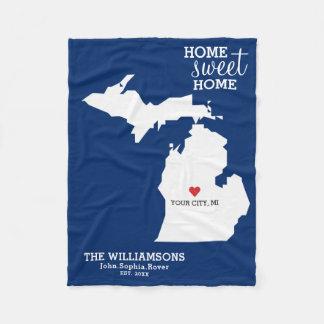 Michigan-Staats-Karten-individuelle Namen, Fleecedecke