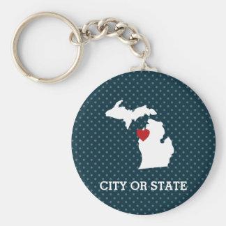 Michigan-Zuhause-Staats-Stadt-Karte - Schlüsselanhänger