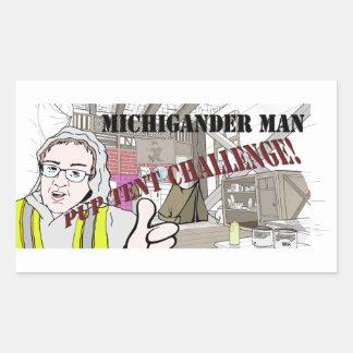 Michigander Mann-Welpen-Zelt-Herausforderung!!! Rechteckiger Aufkleber