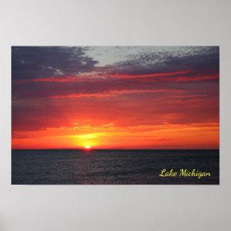 Michigansee-brennender Sommer-orange Poster