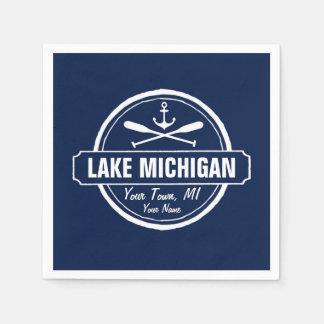Michigansee, kundenspezifische Stadt, Name, Anker, Papierserviette