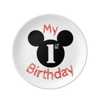 Mickey inspirierte meine erste Geburtstagsplatte, Teller