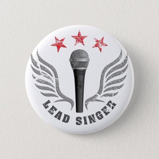 microphone lead singer never stop singing runder button 5,7 cm
