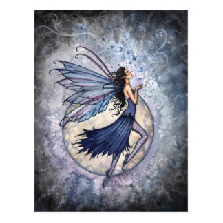 Midnight Blue Fairy Postcard by Molly Harrison