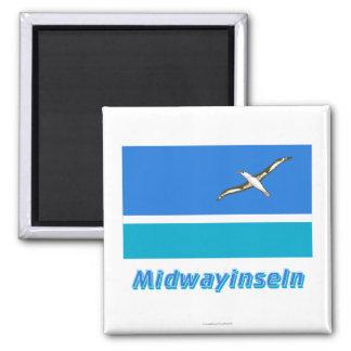 Midwayinseln Flagge MIT Namen Quadratischer Magnet