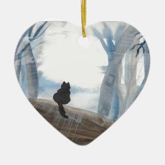 Miezekatze auf einem nebelhaften Morgen Keramik Herz-Ornament
