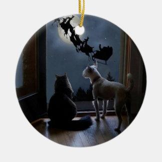 Miezekatze-, Hunde-und Sankt-Weihnachtsverzierung Keramik Ornament