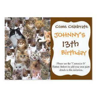Miezekatze-Katze stellt Muster gegenüber 12,7 X 17,8 Cm Einladungskarte