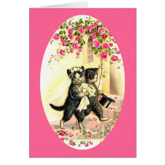 Miezekatze-Katzen-Hochzeit Grußkarte