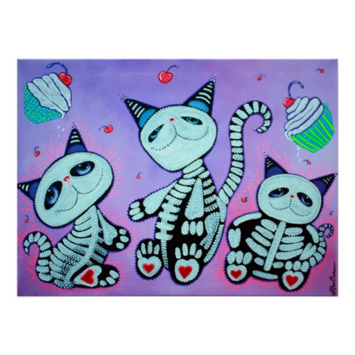 Miezekatze-Katzen-Kuchen-Plakat