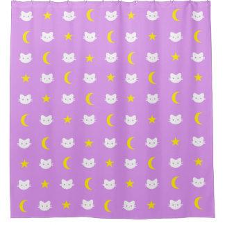 Miezekatze-Katzen-Mond und Stern-Duschvorhang Duschvorhang