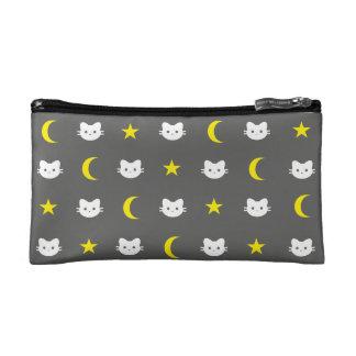 Miezekatze-Katzen-Mond-und Stern-Kosmetik-Tasche Kosmetiktasche
