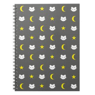 Miezekatze-Katzen-Mond und Stern-Notizbuch Notizblock
