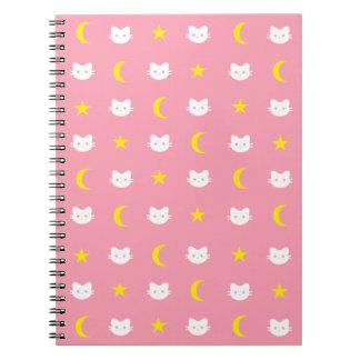 Miezekatze-Katzen-Mond und Stern-Notizbuch Spiral Notizblock