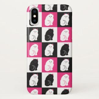Miezekatze-Katzen-Muster im Rosa und im Schwarzen iPhone X Hülle