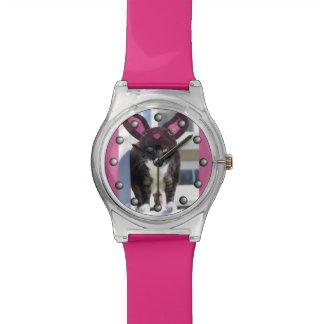 Miezekatze-Katzen-tragende Häschen-Ohren Armbanduhr