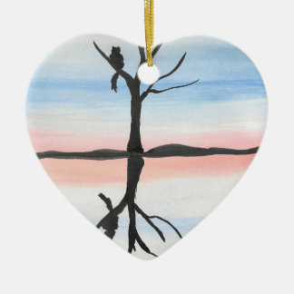 Miezekatze reflektiert keramik Herz-Ornament