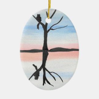 Miezekatze reflektiert ovales keramik ornament