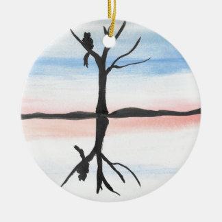 Miezekatze reflektiert rundes keramik ornament