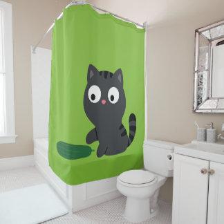 Miezekatze-und Gurken-Illustration Duschvorhang