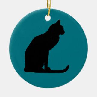 Miezekatze-Weihnachten Rundes Keramik Ornament