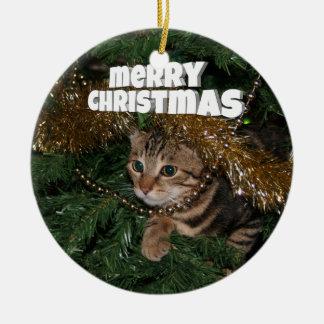 Miezekatze-Weihnachtswünsche Rundes Keramik Ornament