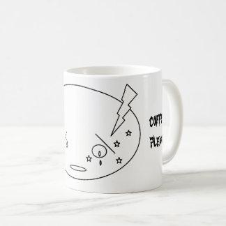 Migräne-Angriffs-schreiendes Gesicht im Kaffeetasse