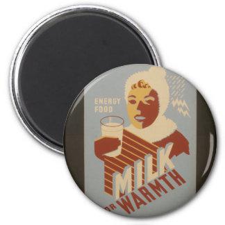 Milch für Wärme Runder Magnet 5,1 Cm