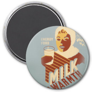 Milch für Wärme Runder Magnet 7,6 Cm