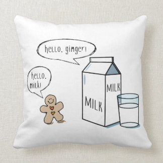 Milch-u. Ingwer-schrulliges weißes Kissen