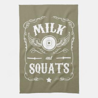 """Milch und Hocken - """"Gewichts-Anheben"""" motivierend Geschirrtuch"""