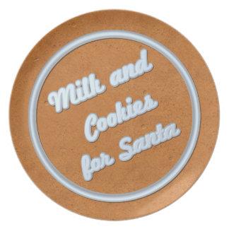 Milch und Plätzchen für Sankt-Lebkuchen-Platte Melaminteller