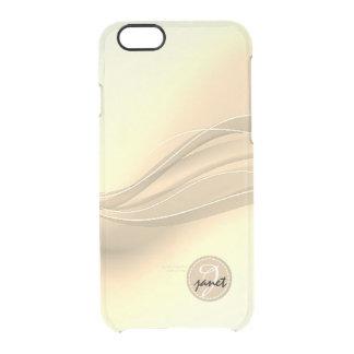 Milchiges Karamell-modernes Wellen-Monogramm Durchsichtige iPhone 6/6S Hülle