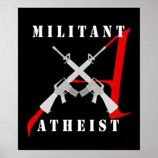 Militantes atheistisches schwarzes Plakat