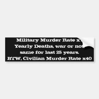 Militär gegen Zivilmord-Rate Auto Aufkleber