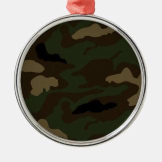 Militär tarnt Muster Rundes Silberfarbenes Ornament
