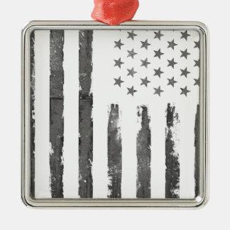 Militärische graue Armerican Flagge Vintag Quadratisches Silberfarbenes Ornament