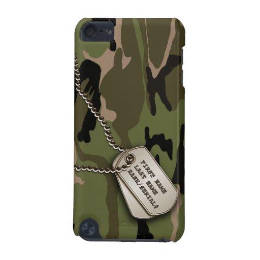 Militärische grüne Camouflage mit Hundeplakette
