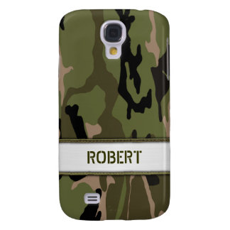 Militärische grüne Camouflage-Namen-Schablone Galaxy S4 Hülle