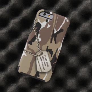 Militärwüsten-Camouflage mit Hundeplakette Tough iPhone 6 Hülle