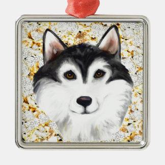 Million Dollaralaskischer Malamute Quadratisches Silberfarbenes Ornament