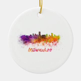 Milwaukee skyline im Watercolor Rundes Keramik Ornament