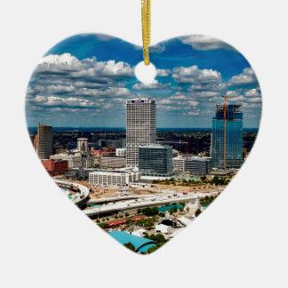 Milwaukee-Skyline Keramik Herz-Ornament