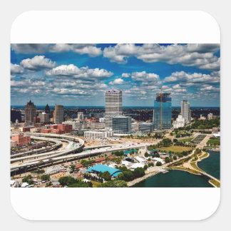 Milwaukee-Skyline Quadratischer Aufkleber